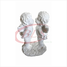 POLYRESIN  WHITE COLOR TWIN ANGEL KISSING H 39 CM CM WITH WINGS