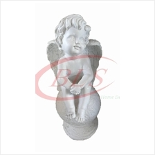 POLYRESIN WHITE COLOR SITTING ANGEL H 33 CM CM WITH WINGS (Q1455)