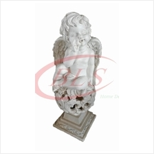 POLYRESIN WHITE COLOR SITTING ANGEL H 49 CM CM WITH WINGS (Q1461)