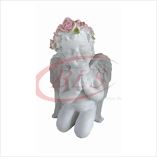 POLYRESIN WHITE COLOR BLESSING BOY ANGEL H 22 CM CM WITH WINGS (Q125H)