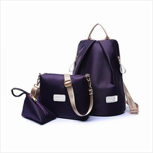3-Piece Set Nylon Shoulder Bag + Sling Bag + Coin Wallet (3 Colours Available)