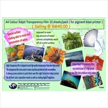 A4ColourInkjet TransparencyFilm10sheets/pack(for pigment base paper)