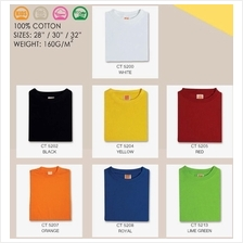 T Shirt Round Neck Comfy Cotton 160Gsm Plain Unisex Children CT52XX