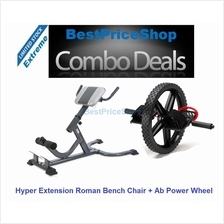 COMBO Six Packs King Roman Hyper Extension Bench Chair Ab Power Wheel