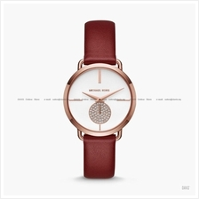 MICHAEL KORS MK2711 Portia Glitz Small Second Leather Strap Red