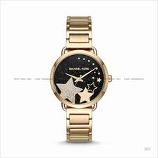 MICHAEL KORS MK3794 Portia 3-hand Glitz Stars SS Bracelet Black Gold