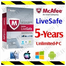 McAfee LiveSafe 2017 5YEAR Unlimited PC AntiVirus anti virus