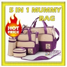 {READY STOCK} 5 in 1 Mummy Multifunction Essential Diaper Bag Set