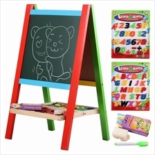Wooden 2-in-1 Blackboard and Whiteboard Easel Set