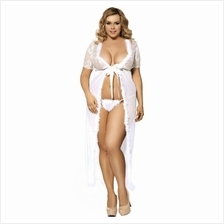 PLUS SIZE SEXY LACED LINGERIE (WHITE, SIZE 5XL)