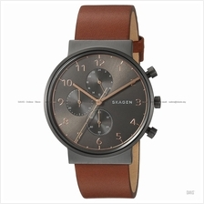 SKAGEN SKW6418 Men's Ancher Chronograph Leather Strap Brown