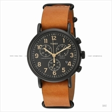 TIMEX TW2P97500 (M) Weekender Chrono Slip-Thru leather strap black tan