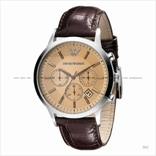 EMPORIO ARMANI AR2433 Men's Classic Chronograph Leather Strap Brown
