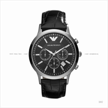 EMPORIO ARMANI AR2447 Men's Classic Chronograph Leather Strap Black