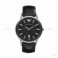 EMPORIO ARMANI AR2411 Men's Classic 3-hand Date Leather Strap Black