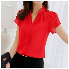 [WT 059] Women Short Sleeve Top Shirt Loose Blouse Half Formal Plus Size