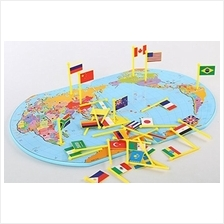 Wooden World Map Flag Matching Puzzle Geography Educational Toy