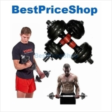 15kg Adjustable Cast Iron Dumbbell Set 20cm Barbell Connector 1 Pair