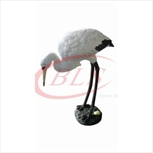 POLYRESIN DRINKING WATER STORK H 36 CM BLUE AND WHITE COLOR DECORATION
