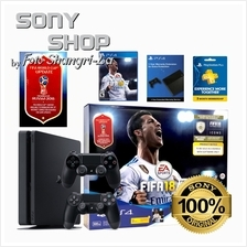 PS4 SLIM 500GB FIFA  '18 BUNDLE SET + 1 EXTRA CONTROLLER + 2 YEARS SONY )