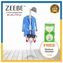 ZEEBE 12 Hook Hanging Pole Rack Clothes Bags Hanger Storage Stand R12