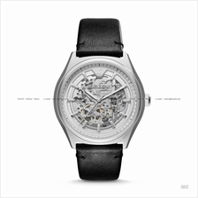 EMPORIO ARMANI AR60003 Men Meccanico Automatic Skeleton Leather Black