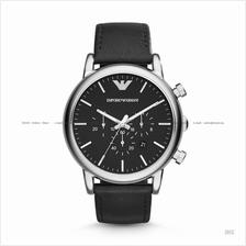 EMPORIO ARMANI AR1828 Men's Classic Chronograph Leather Strap Black