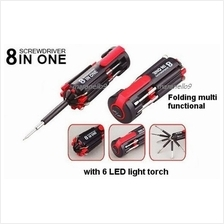 Sale:8in1 Professional Tools Multi Screwdriver Set+ 6 LEDs Power Torch