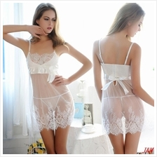 White Transparent Chantilly Lace Wedding Babydoll Sleepwear Sexy Linge
