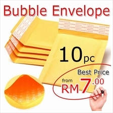 10pc-Bubble Wrap Golden Envelope Mailer Surat Kertas Kraft
