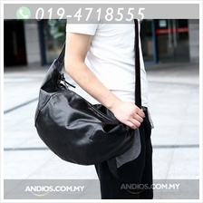 Men Black Satchel Shoulder Bag/Fashion Zipper Dumpling Shape Messenger