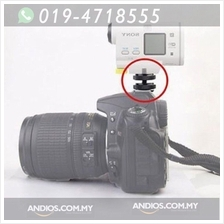 Camera Screw To Flash Shoe Adapter 1/4 Inch Tripod Mount Dual Nuts