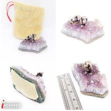 **incendeo** - Amethyst Crystal with Pewter Dog Figurine