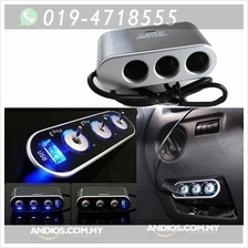 3 Way Car Cigarette Lighter Socket Splitter USB Charger Power Adapter