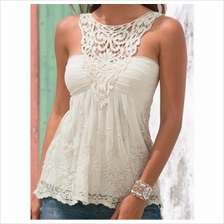 WOMEN SLEEVELESS TOP LACE TOP (WHITE/PINK/BLUE/BLACK, SIZE M)