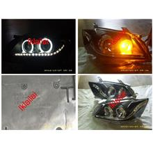 Toyota Camry '07 CCFL Ring Projector Head Lamp LED DRL R8 Black Housin