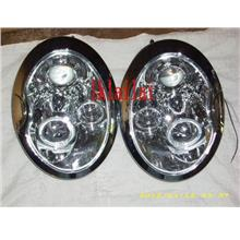 BMW Mini Cooper '02 Head Lamp Crystal Projector + Rim [Chrome]