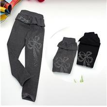 Kids Girl Leggings With Flower Pattern)