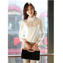 Lace Knit Long Sleeve Blouse 12971 (White)