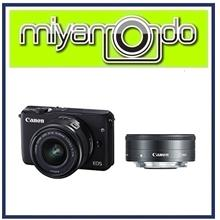 NEW Canon EOS M100 (Black) With 15-45mm + 22mm Twin Lens + 8GB + Bag