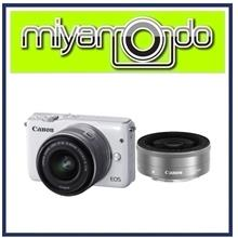 NEW Canon EOS M100 (White) With 15-45mm + 22mm Twin Lens + 8GB + Bag