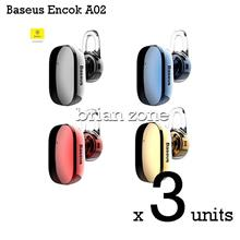 3 Units BASEUS Encok A02 Mini Wireless Bluetooth 4.1 Earphone Headset