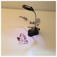 3.5x&12X 3rd Helping Clip LED Magnifying Soldering Iron Stand Len Magn..