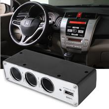 3Way Multi Socket Car Cigarette Lighter SplitterUSB DC Charger Adapter