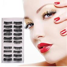 New 10 Pairs Thick False Eyeflashes Dense Fake Lashes Individual Black