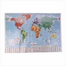 New 97.5 X 67.5 Large World Map English French Wall Chart Teaching Pos..