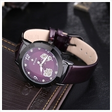 WWOOR 8822 Lady Leather Band Quartz Butteryfly Pattern Wrist Watch