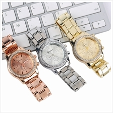 Women Bling Plated Gold Classic Stainless Watch With Full Crystal