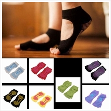 1Pair Comfort Durable Yoga Pilates Socks Half Toe Ankle Grip No-Slip