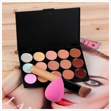 15 Color Contour Face Cream Concealer Palette Sponge Puff Powder Brush